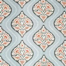 coral grey trellis upholstery fabric light blue white grey