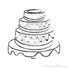 wedding cake dessert sketch stock illustration image 89213889
