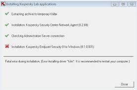reset password kaspersky security center kasperky error installing driver klim