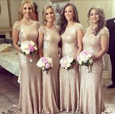sequin bridesmaid dresses gold sequin bridesmaid dresses backless 2015 crew neck cap