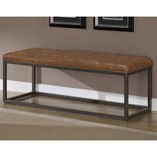 saddle leather brown bonded and metal bench livingroomfurniture club