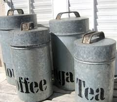 vintage canisters for kitchen reserved for caos1 vintage galvanized metal canister set rustic