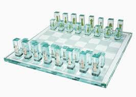 Designer Chess Sets by Kiln Formed Art Glass Chess Set With 24k Gold Game Pieces For Sale