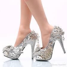 Wedding Shoes Singapore New Big Yards White Diamond Costly Wedding Shoe With Round Head