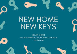 cerulean keys change of address card templates by canva