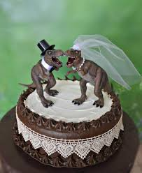 dinosaur t rex wedding cake topper bride and groom dinosaurs