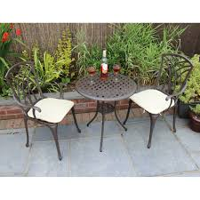 wrought iron bistro table and chair set garden cast aluminium bistro table and chairs set