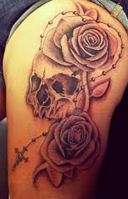 rose tattoo on the thigh for women design idea for men and women