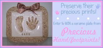 baby footprint ideas ceramic baby handprint footprint plate giveaway