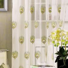 Peacock Blue Sheer Curtains Room Design Modern Peacock Feather Curtain With White Design To