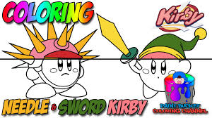 coloring kirby sword kirby and needle kirby nintendo video