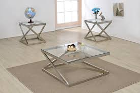 brushed nickel coffee table ollie brushed nickel clear glass coffee table shop for affordable