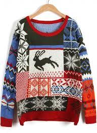 sleeve deer printed knit sweater novashe