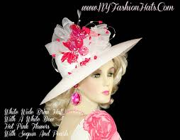 Kentucky Derby Flowers - white wedding kentucky derby hat with pink flowers ny fashion hats