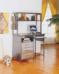 interior home office design idea with white desk chairs gray