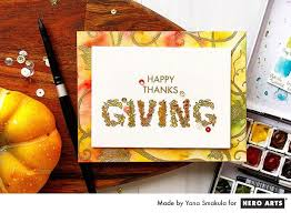 watercolor happy thanksgiving card arts