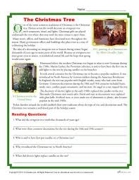 the christmas tree printable reading comprehension activity