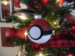 pokeball glass christmas ball ornament