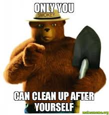 Clean Up Meme - only you can clean up after yourself make a meme