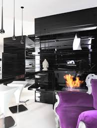 cool blackand white room decoration with floral floor and big