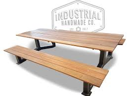 hand made nashville large industrial outdoor picnic table by