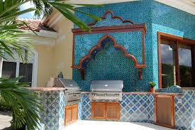 moroccan tile kitchen backsplash colorful outdoor kitchen decoration using blue glass moroccan