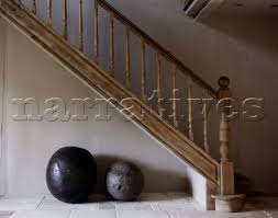 Stone Banister Bd082 52 Two Stone Ball Seats Under Wooden Banister A