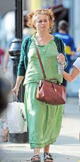 polka dot hair helena bonham steps out in baggy green polka dot dress in