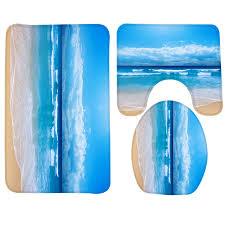 Memory Foam Bathroom Rug Set 3pcs Bath Mat Set Could Sea Pattern Bathroom Rug Anti Slip