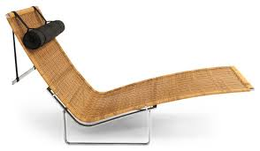 pk24 modern rattan chaise and stainless steel lounge chair with