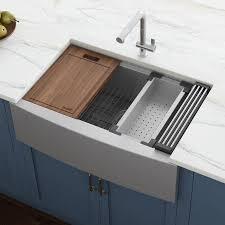 stand alone kitchen sink unit ruvati verona farmhouse apron front 33 in x 22 in stainless steel single bowl workstation kitchen sink