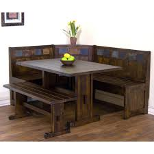 dining room table sets with bench santa fe wood dining nook set with side bench in dark chocolate