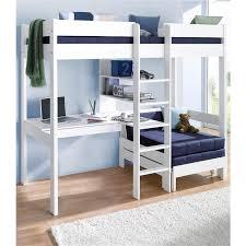 lit mezzanine avec bureau intégré lit mezzanine avec plan de travail étagères blanc autres