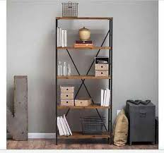 Industrial Metal Bookshelf Tall Metal Bookcase Industrial Bookshelf Rustic 5 Shelf Wood Media