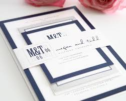 navy blue wedding invitations modern wedding invitations in navy blue and gray wedding invitations