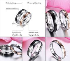 steel promise rings images V stripe design cz diamond couple promise rings evermarker jpg