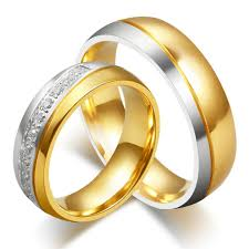 cheap gold rings images Anazoz jewelry his and her for titanium 18k gold plated wedding jpg