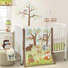 woodland animals baby bedding 3 piece crib bedding set forest woodland animals green brown baby