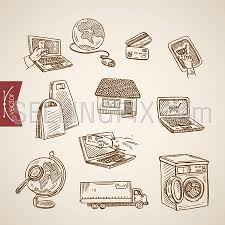 engraving vintage hand drawn vector online world shopping