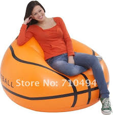 basketball shape single air sofa with intex hand pump inflatable