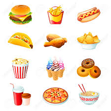colorful icons with fast food meals isolated royalty free cliparts