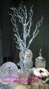 Wedding Tree Centerpieces Silver Glitter Artificial Tree Branches Wedding Table Tree