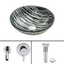 vigo glass vessel sink in rising moon with olus wall mount faucet
