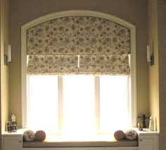 floral roman shade for arched window treatment idea and bench with