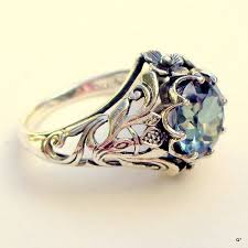 silver coloured rings images Vintage alexandrite ring sterling silver ring color change stone jpg