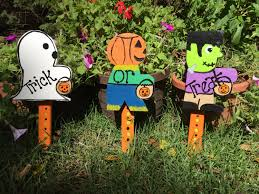 set of three halloween yard stakes lawn ornaments signs