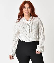 plus size white blouses folter plus size white black polka dot neck bow sleeve