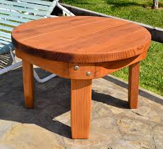Round Redwood Picnic Table by Solid Wood Side Table Classic Redwood Side Table