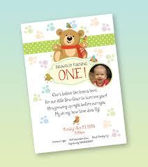 1 Year Invitation Birthday Cards One Year Old Boy Birthday Invitation Winter Teddy Bear Theme
