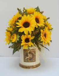 country silk sunflower floral flower arrangement table